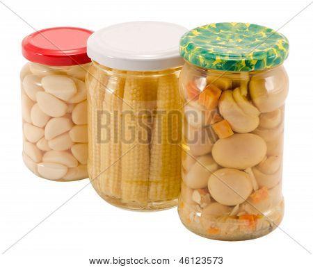 Garlics Corns Mushrooms Preserved Glass Jar Pot