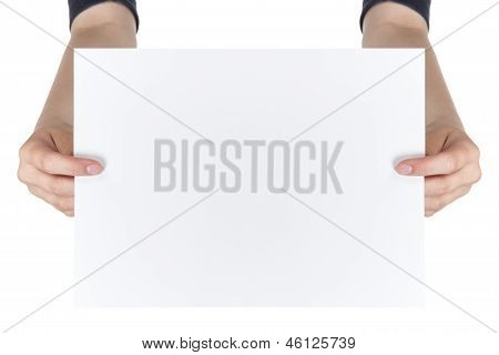 Two Female Teen Hands Showing Blank Paper Sheet