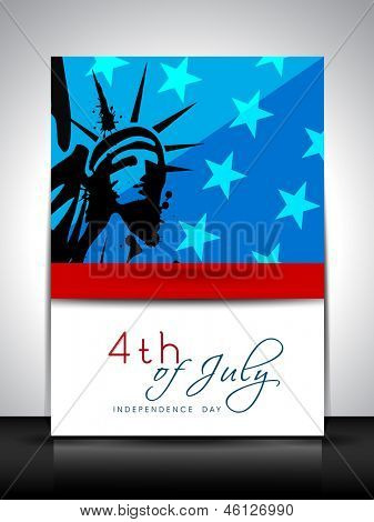 4th of July, American Independence Day flyer or brochure with image of statue of liberty.