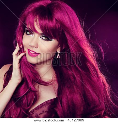 Hairstyle. Red Hair. Fashion Girl Portrait With Long Curly Hair. Beauty Portrait Of Woman.