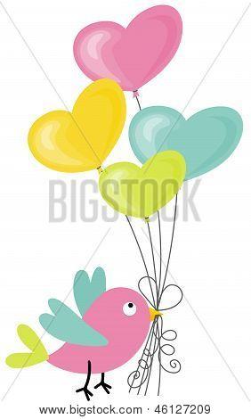 Passarinho segurando um balões em forma de coração