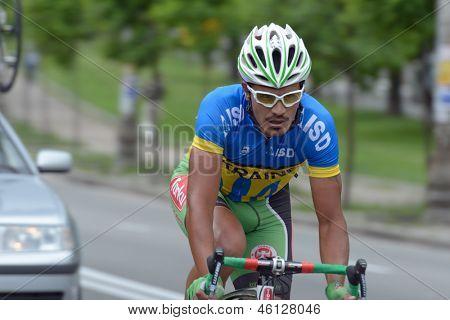 KIEV, UKRAINE - MAY 24: Sergey Grechyn, national team Ukraine, in the bicycle racing Race Horizon Park in Kiev, Ukraine on May 24, 2013