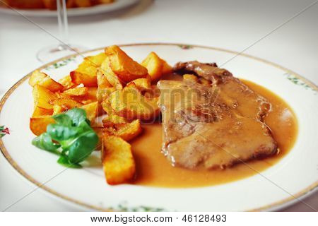 Steak With Sauce On A Plate