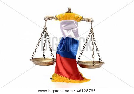Scales Of Justice And Russian Federation Flag