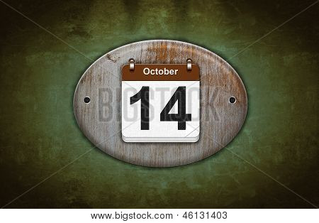 Old Wooden Calendar With October 14.