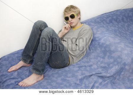 Young Blond Handsome Thoughtful Man