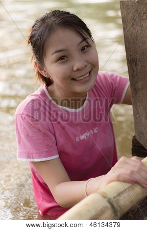 Thailand Girl Smile In River