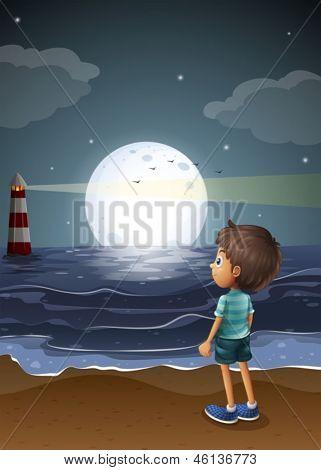 Ilustración de un joven mirando una luna llena en la playa
