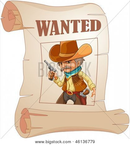 Illustration of a paper with a print of a wanted cowboy on a white background