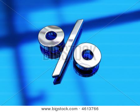 3D Rendering Of A Percentage Sign In Metal On A Blue Background.
