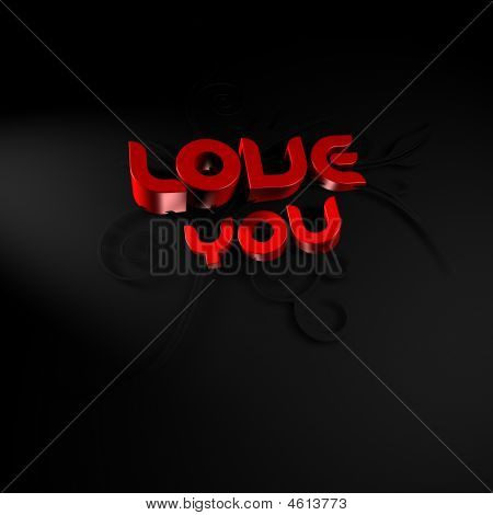 3D Illustration Of The Words Love And You