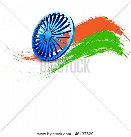 Dia da independência indiana fundo com cores verde e açafrão e roda do 3D Ashoka em backgr branco