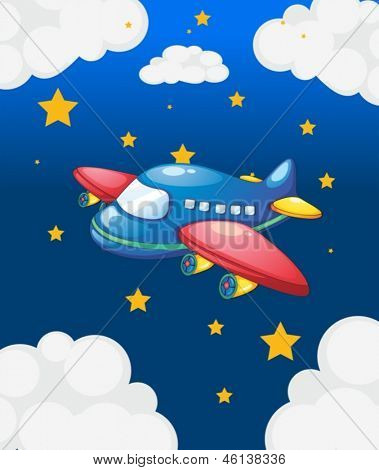 Abbildung eines Flugzeugs am Himmel mit vielen stars
