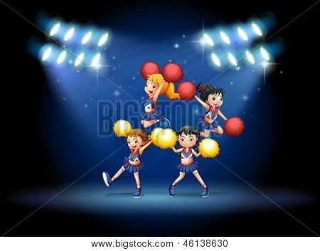 Illustration of a stage with a cheerleading squad