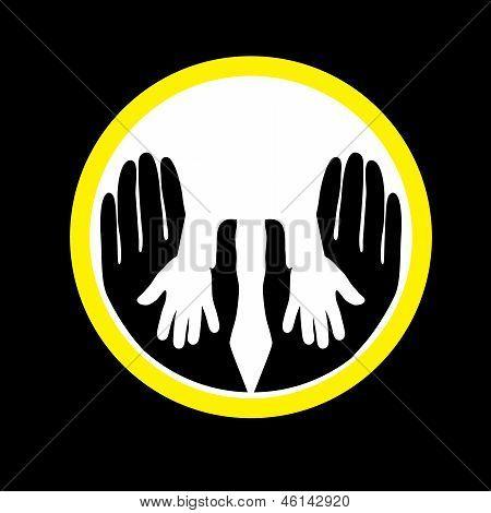 母亲或父亲的孩子的手一起概念矢量图形
