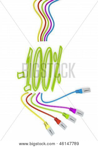 discount icon with colourful network cable