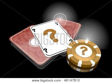 Illustration of a glaring question icon  on poker cards