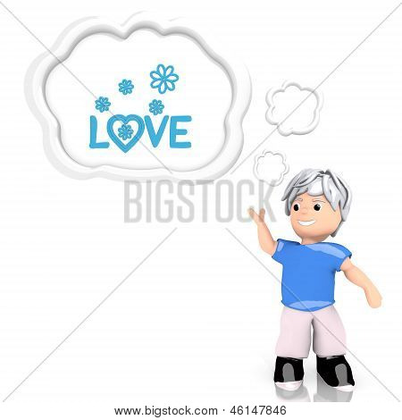 3d render of a bright love symbol  thought by a 3d character