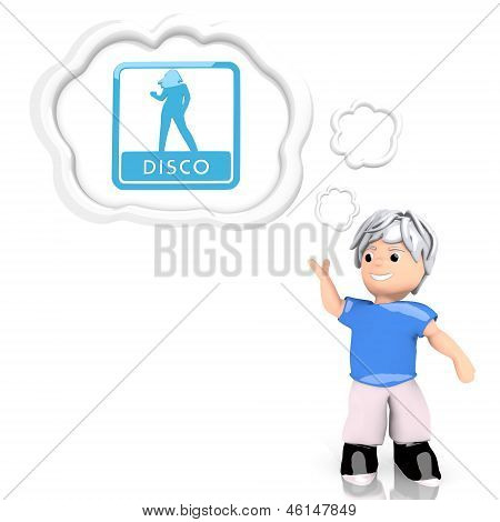 3d graphic of a sexy disco sign  thought by a 3d character