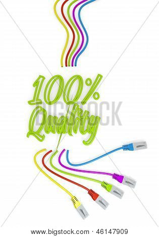 quality symbol with colourful network cable