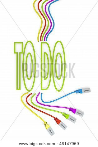 to do symbol with colourful network cable