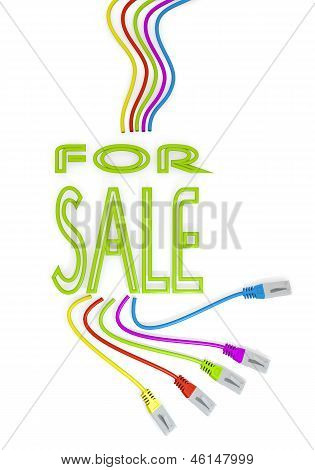 sale icon with colourful network cable