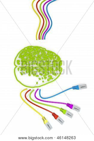 brain icon with colourful network cable