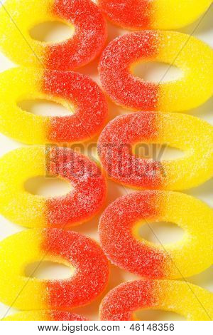 full frame of fruit jelly circles