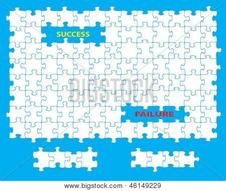Blank jigsaw with missing pieces and the words success and failure. Individual pieces can be moved and colored independently.