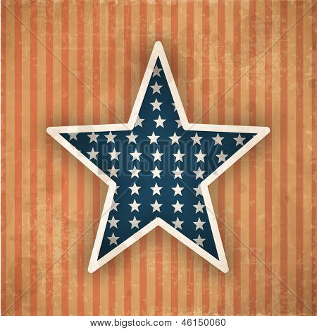 4th July, American Independence Day vintage background with star.