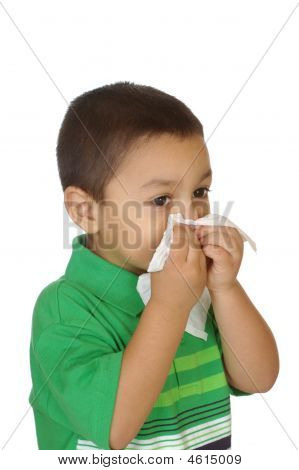 Boy In Green Shirt Blowing Nose, 3 Years Old
