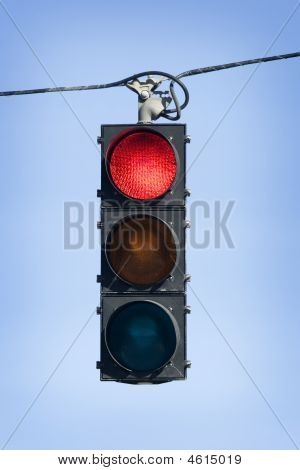 Red Light Hanging Above Street
