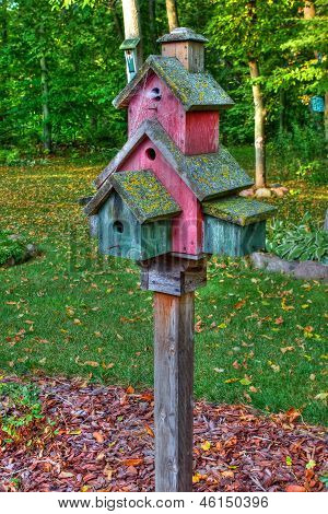 Large Wooden Bird House On A 4X4 In High Dynamic Range