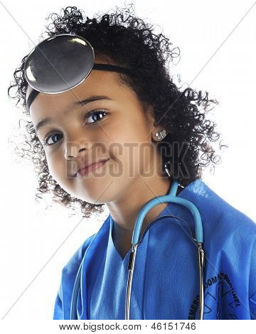 "Closeup portrait of a beautiful preschool ""doctor.  On a white background."