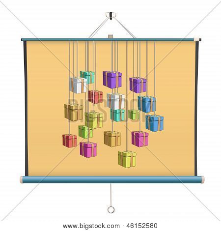 Colorful Presents On Yellow Background Printed On Projector Screen. Isolated Vector Design.