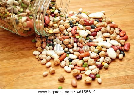 Dried Beans Spilling out of a Glass Jar