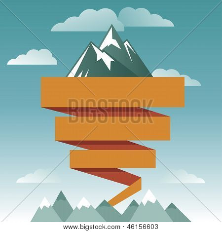 Vector Retro Design Template With Mountain Icon