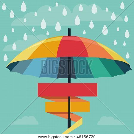 Vector Umbrella And Rain Drops In Rainbow Colors