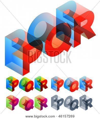 Vector illustration of colored text in isometric view. Standard characters. letters P Q R