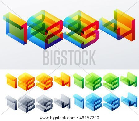 Vector illustration of colored text in isometric view. Cube-styled monospace characters. 1 2 3 4