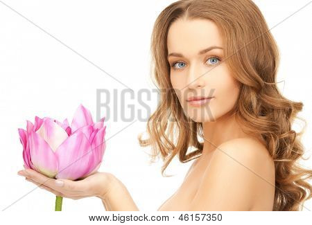 picture of lovely woman with lotos flower.
