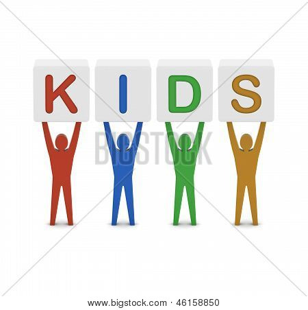 Men holding the word kids. Concept 3D illustration.
