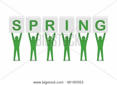 Men holding the word spring. Concept 3D illustration.