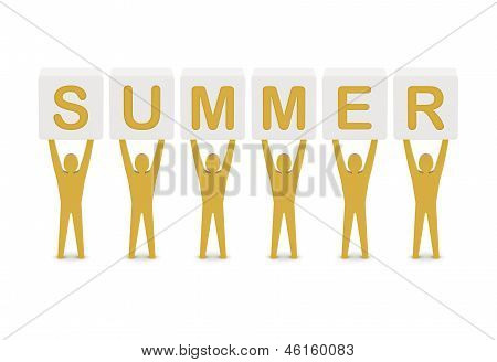 Men holding the word summer. Concept 3D illustration.