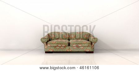 Old Sofa In Empty White Room