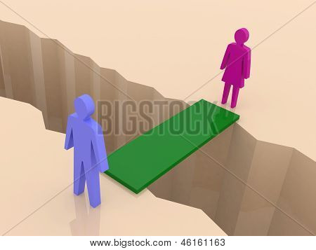 Man and woman split on sides bridge through separation crack. Concept 3D illustration.