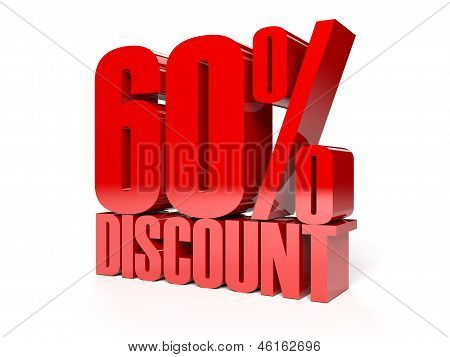 60 percent discount. Red shiny text. Concept 3D illustration.