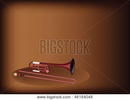 A Symphonic Trombone On Dark Brown Background