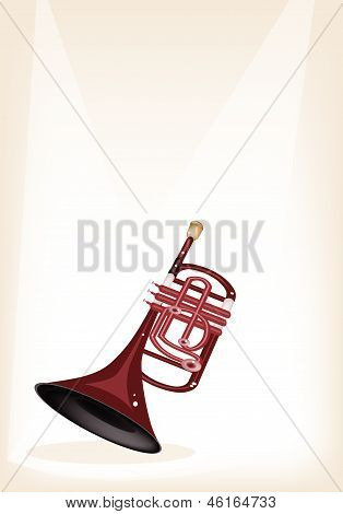 A Musical Cornet On Brown Stage Background
