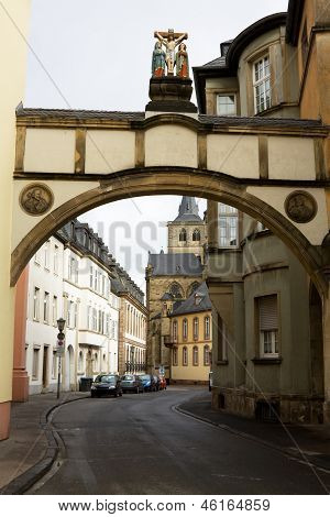 The Arch With The Crucifixion Scene In Trier, Germany
